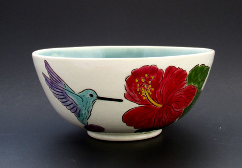 Hummingbird and Hibiscus Bowl